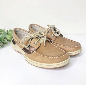 Sperry Open Mesh Tan Bronze Boat Shoes Docksiders
